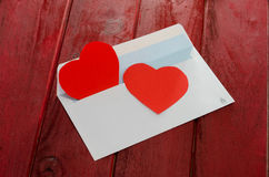 Red heart in paper envelope Royalty Free Stock Photography