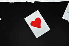 Red heart paper note on computer screen Stock Photo