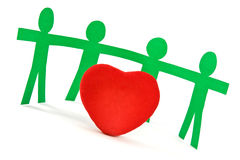 Red heart and  paper people Stock Image