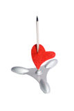Red heart on a paper spike Royalty Free Stock Photos