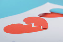 Red Heart Paper Sticker Shadow. Royalty Free Stock Image