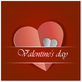 Red Heart Paper Sticker With Shadow Valentine`s day vector illustration Stock Images