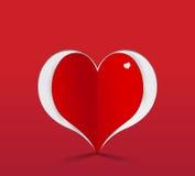 Red heart paper sticker. Vector illustration Stock Photos