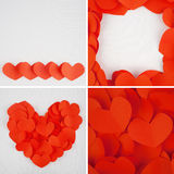 Red heart paper on white fabric for background Royalty Free Stock Photography
