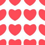 Red heart pastel design icon flat on white background. Seamless heart pattern stock illustration
