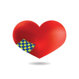 Red Heart with a patch,  On White Background, Vector Stock Images