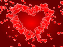 Red heart pattern. 3D red heart pattern background Royalty Free Stock Photo