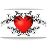 Red heart with a pattern Stock Photography