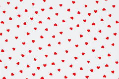 Red heart pattern on white background Stock Photo