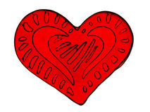 Red heart with patterns Royalty Free Stock Photography