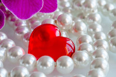 Red heart with pearls and orchids. Red heart made of glass with pearls and orchids Stock Photo