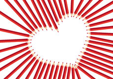 Red heart pencils Stock Images