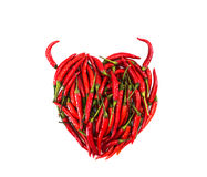Red heart pepper. Red heart chilli pepper with Horn on Isolated white background,with clipping path,Valentine concept Royalty Free Stock Image