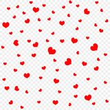 Red heart petals background, isolated on transparent, design element template. Valentine`s day, confetti hearts. Vector . vector illustration