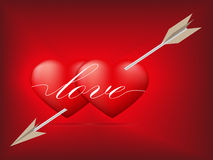 Red heart pierced by arrow Royalty Free Stock Photos