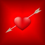 Red heart pierced by arrow Stock Photo