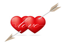 Red heart pierced by arrow Stock Images