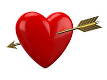 Red heart pierced with golden arrow Stock Image
