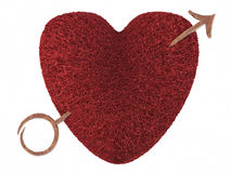 Red heart pierced by golden arrow Royalty Free Stock Images