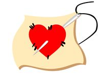 Red heart pierced by needle. With black string illustration vector illustration