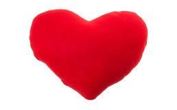 Red heart pillow isolated on white background Royalty Free Stock Photo