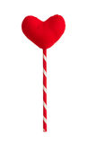 Red heart pillow on sticks isolated on white Stock Photos