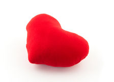 Red heart pillow on white background Stock Image
