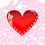 Red heart. On a pink background vector greeting card Stock Photos
