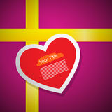 Red Heart on Pink Gift Box Cover Stock Photography