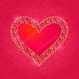 Red Heart with Pink Petal Frame Royalty Free Stock Image