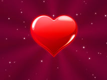 Red heart with pink rays Royalty Free Stock Photo