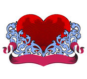 Red heart with pink ribbon Royalty Free Stock Image