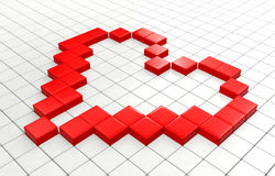 Red heart pixel. Red heart square pixels background Stock Image