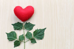 Red heart placed on a wooden table in connect with branches of t Stock Image