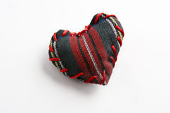 Red heart, plaid fabric Stock Photography