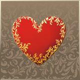 Red heart with plant pattern Stock Images