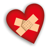 Red heart plaster Stock Image