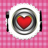 Red heart on a plate stock photos