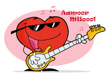 Red Heart Playing A Guitar With Musical Notes. Red Heart Playing A Guitar Royalty Free Stock Photo