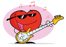 Red Heart Playing A Guitar And Singing. Red Heart Playing A Guitar vector illustration