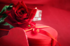 Red heart on present Stock Photography