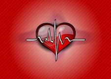 Red heart pulse Stock Image