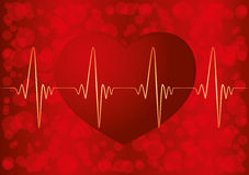 Red heart and pulse. Royalty Free Stock Photos