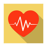 Red heart with pulse.The heart rate of the athlete .Gym And Workout single icon in flat style vector symbol stock Royalty Free Stock Photography