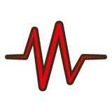 Red heart pulse rhythm icon Royalty Free Stock Photography