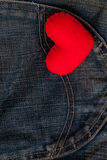 Red Heart put on an old blue jeans. Means love for denim. Stock Image