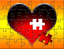 Red Heart Puzzle with Piece Missing. Puzzle of a large red heart on a red and yellow gradient background with a piece missing royalty free illustration