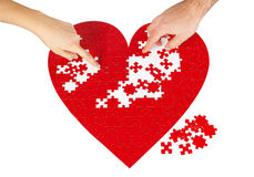 Red heart puzzles. Young couple assembling a red puzzle heart shape on white background Stock Image