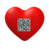 Red heart with qr code Royalty Free Stock Photo