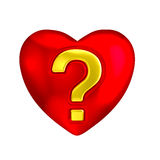 Red heart question mark love symbol. Metallic glossy heart symbol with golden question mark inlay. Metaphor for question of love, love quiz, relationship Stock Image